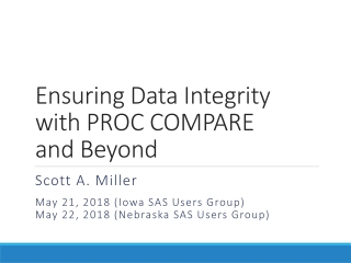 Ensuring Data Integrity with PROC COMPARE and Beyond