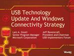 USB Technology  Update And Windows Connectivity Strategy