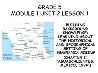 GRADE 5 MODULE 1 UNIT 2 LESSON 1