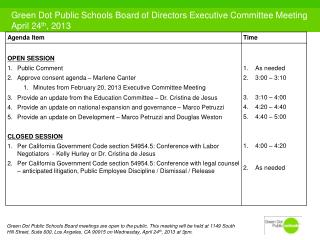 Green Dot Public Schools Board of Directors Executive Committee Meeting April 24 th , 2013