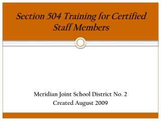 Section 504 Training for Certified Staff Members