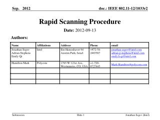 Rapid Scanning Procedure