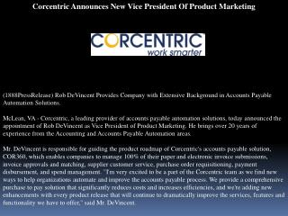 Corcentric Announces New Vice President Of Product Marketing