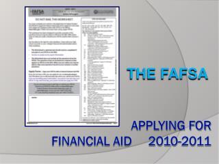 Applying for  Financial Aid     2010-2011