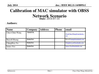 Calibration of MAC simulator with OBSS Network Scenario