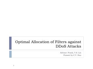 Optimal Allocation of Filters against  DDoS  Attacks