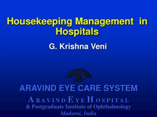 Housekeeping Management  in Hospitals