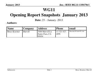WG11   Opening Report Snapshots  January 2013