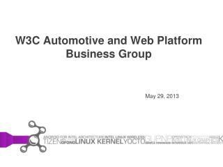 W3C Automotive and Web Platform Business Group