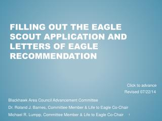 Filling Out the Eagle Scout Application and Letters of Eagle Recommendation