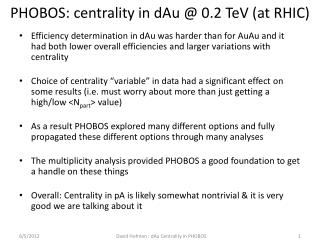 PHOBOS: centrality in  dAu  @ 0.2  TeV  (at RHIC)