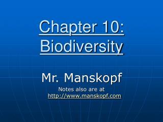 Chapter 10: Biodiversity