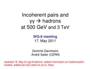 Incoherent pairs and γγ  hadrons at 500  GeV and 3  TeV WG-6 meeting 17. May 2011