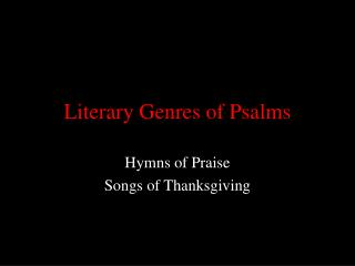 Literary Genres of Psalms