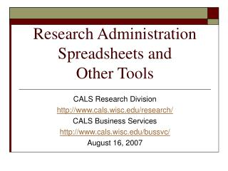 Research Administration Spreadsheets and Other Tools