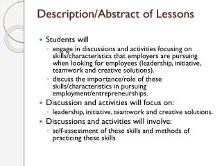 Description/Abstract of Lessons