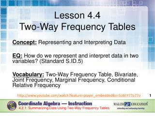 Lesson 4.4 Two-Way Frequency Tables Concept:  Representing and Interpreting Data