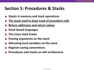 Section 5: Procedures & Stacks