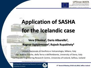 Application of SASHA  for the Icelandic case Vera D'Amico 1 , Dario Albarello 2 ,