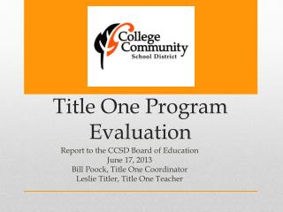 Title One Program Evaluation