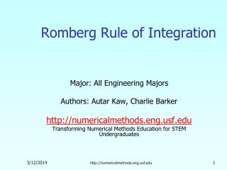 Romberg Rule of Integration
