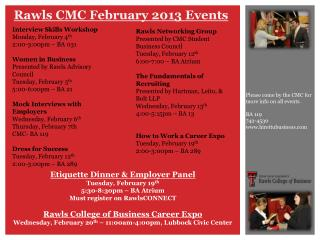 Rawls CMC February 2013 Events
