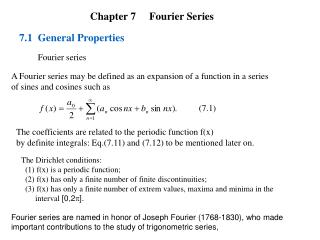 Chapter 7     Fourier Series