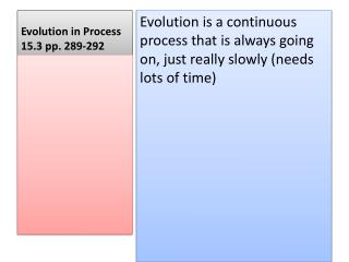 Evolution in Process   15.3 pp. 289-292
