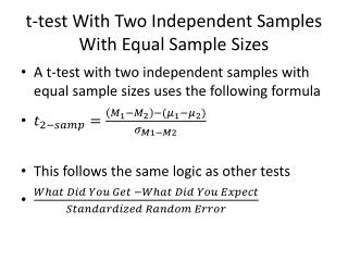 t-test With Two Independent Samples With Equal Sample Sizes