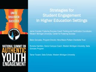 Strategies for  Student Engagement  in Higher Education Settings