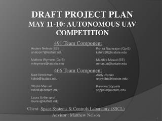 Draft Project Plan May 11-10: Autonomous UAV Competitio n