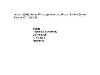 Arrigo (2005) Marine Microorganisms and Global Nutrient Cycles Nature 437: 349-355