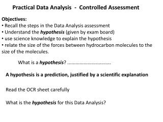 Practical Data Analysis  -  Controlled Assessment