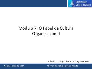 Módulo 7: O Papel da Cultura Organizacional