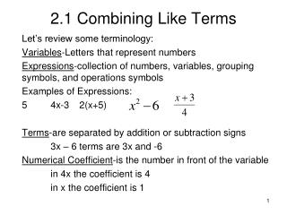 2.1 Combining Like Terms
