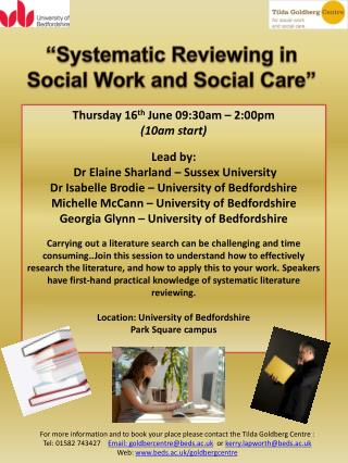 """Systematic Reviewing in Social Work and Social Care"""