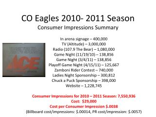 CO Eagles 2010- 2011 Season Consumer Impressions Summary
