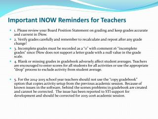 Important INOW Reminders for Teachers