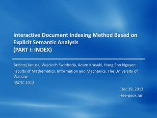 Interactive Document Indexing Method Based on Explicit Semantic Analysis  (PART I: INDEX)