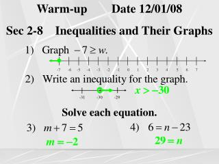 Warm-up Date 12/01/08 Sec 2-8 Inequalities and Their Graphs