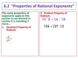 "6.2  ""Properties of Rational  Exponents"""