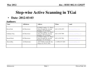 Step-wise Active  Scanning  in  TGai