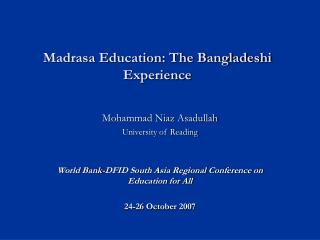 Madrasa Education: The Bangladeshi Experience