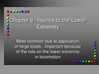 Chapter 6 -Injuries to the Lower Extremity