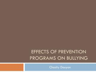 Effects of prevention programs on Bullying