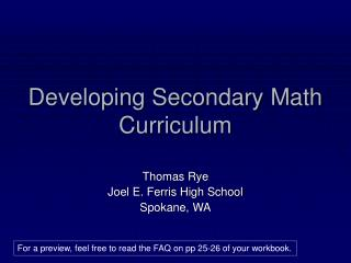 Developing Secondary Math Curriculum