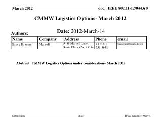 CMMW Logistics Options-  March 2012