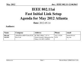 IEEE 802.11ai Fast Initial Link Setup  Agenda for  May 2012 Atlanta