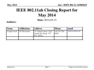 IEEE 802.11ah Closing Report for May 2014