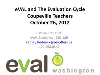 eVAL  and The Evaluation Cycle Coupeville Teachers October 26, 2012